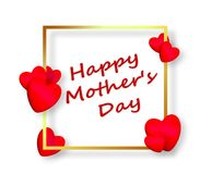 Будьте матерью красного цвета сердец 3D дня ` s счастливого Стоковые Фотографии RF