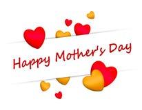 Будьте матерью красного цвета сердец 3D дня ` s счастливого Стоковое Изображение