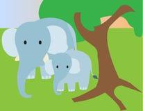 Будьте матерью слона со своим младенцем в лесе стоковое фото rf
