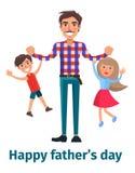Будьте отцом играть с его сыном и маленькой дочерью Стоковое Фото