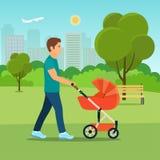 Будьте отцом идти в парк с прогулочной коляской на солнечный день Иллюстрация стиля вектора плоская Стоковое Изображение