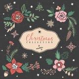 Букеты приветствию рождества с цветками и ягодами иллюстрация штока