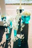 Букеты свадьбы белых цветков пехотинца и орхидеи Стоковая Фотография