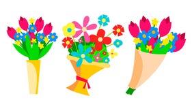 Букеты цветков установили вектор Красивый флористический подарок присутствующая весна Сад, цветене Изолированная плоская иллюстра иллюстрация штока