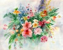 Букет акварели красочный на текстурированной бумаге Пук цветков поля стоковые фотографии rf