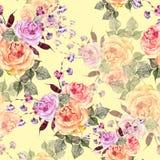 Букет акварели роз на cream предпосылке картина безшовная Иллюстрация вектора
