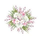 Букет акварели с кактусами и succulents Стоковые Изображения
