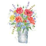 Букет акварели флористический с цветками луга иллюстрация штока