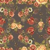 Букет акварели цветет и тень на коричневой предпосылке флористическая картина безшовная Стоковая Фотография
