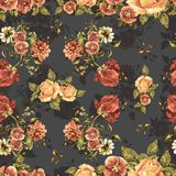 Букет акварели цветет и тень на серой предпосылке флористическая картина безшовная Стоковые Фото