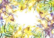 Букет акварели цветков, цветков орхидеи, мака, иллюстрация штока
