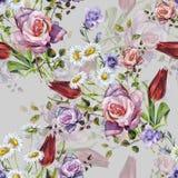 Букет акварели чувствительный с тенью Вручите покрашенным цветкам безшовную картину на серой предпосылке бесплатная иллюстрация