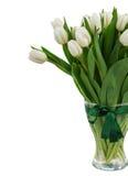Букет белых тюльпанов в конце вазы вверх Стоковая Фотография RF