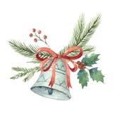 Букет вектора рождества акварели с колоколом и елью разветвляет Стоковая Фотография RF