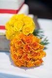 Розы померанца букета венчания Стоковое Фото