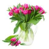 Букет двойных розовых тюльпанов в вазе Стоковое Изображение