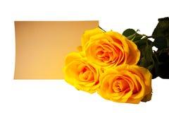 Букет желтых роз с пустой карточкой на белизне Селективный фокус Стоковая Фотография RF