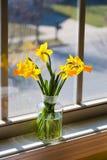 Букет желтых daffodils в стеклянной вазе около окна с re Стоковые Фото