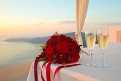 Букет и шампанское Стоковое Фото