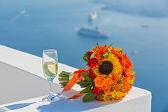 Букет и Шампань свадьбы Стоковые Фотографии RF