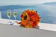 Букет и Шампань свадьбы Стоковые Изображения