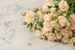 Букет красивых нежных мини роз на светлой конкретной предпосылке Космос для текста стоковое фото