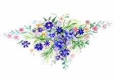 Букет красных и голубых цветков Стоковая Фотография