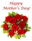 Букет красных роз изолированных на белизне Стоковая Фотография