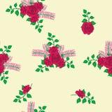 Букет красных роз и картины сирени иллюстрация вектора