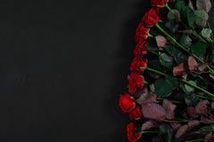 Букет красных роз на черной предпосылке Взгляд сверху Стоковые Фото
