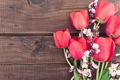 Букет красных тюльпанов на деревянной предпосылке с космосом для текста Стоковое фото RF