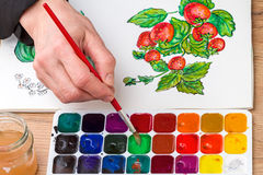 букет крася красный желтый цвет акварелей тюльпанов Стоковые Фотографии RF