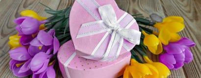 Букет крокусов и подарочной коробки Стоковое Изображение RF
