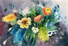 Букет лета акварели яркий красочных цветков стоковые фото