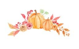 Букет осени падения цветков свода тыкв акварели покрашенный рукой Стоковые Фото