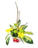 Букет от цветков, ягод и верб pussy разветвляет Стоковые Фотографии RF