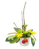 Букет от цветков, ягод и верб pussy разветвляет Стоковая Фотография