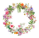 Букет пестротканой картины акварели цветков на предпосылке белизны круга Стоковые Изображения