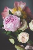 Букет пионов и роз Затрапезный шикарный пастельный букет стоковое изображение
