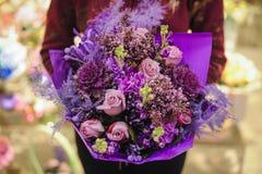 Букет различных фиолетовых цветков цвета Стоковые Фотографии RF