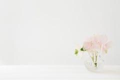 Букет розовых гортензий цветет в вазе на белой таблице Пустой космос для текста Стоковые Фотографии RF