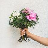 Букет розовых и белых цветков пиона Стоковое Изображение RF