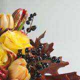 Букет роз, тюльпанов, одичалых виноградин и листьев осени Стоковые Фото