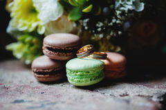 Букет свадьбы и детали кольца установленные Стоковые Фото