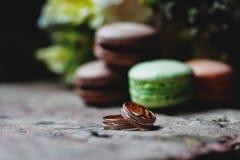 Букет свадьбы и детали кольца установленные Стоковое Изображение RF
