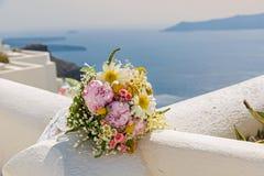 Букет свадьбы на предпосылке моря Стоковое Изображение RF