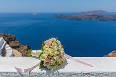 Букет свадьбы на предпосылке моря Стоковое Фото