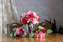 Букет свадьбы невесты и bridesmaids 3 wedding букета Стоковые Изображения RF