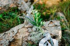 Букет свадьбы с лентой лаванды Стоковое фото RF