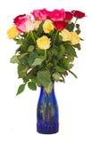 Букет свежих пестротканых роз Стоковые Изображения